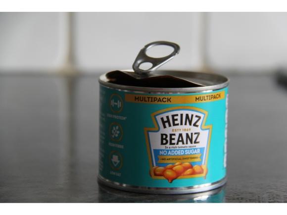 slightly open tin of beans